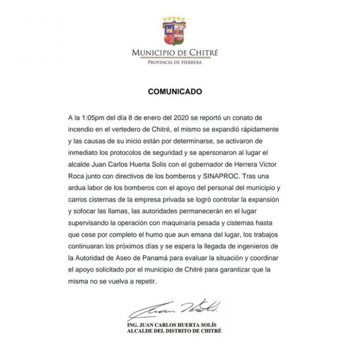 Comunicado del Municipio de Chitré