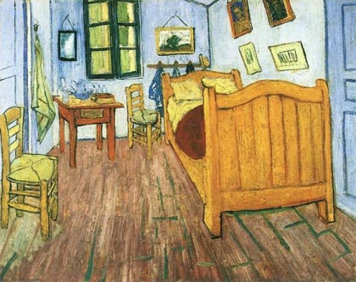 'La habitación en Arlés' una representación de la comodidad de Van Gogh en Provenza.