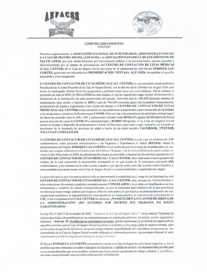 Comunicado Conjunto de la ANFACSS  y la APES