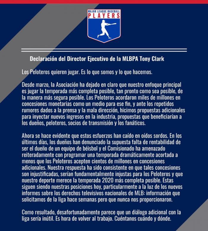 La asociación de jugadores han rechazado la ultima propuesta de la MLB