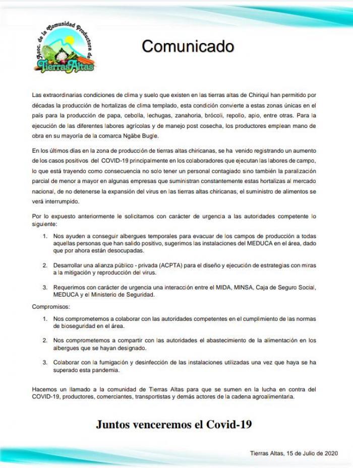 Comunicado de la ACPTA