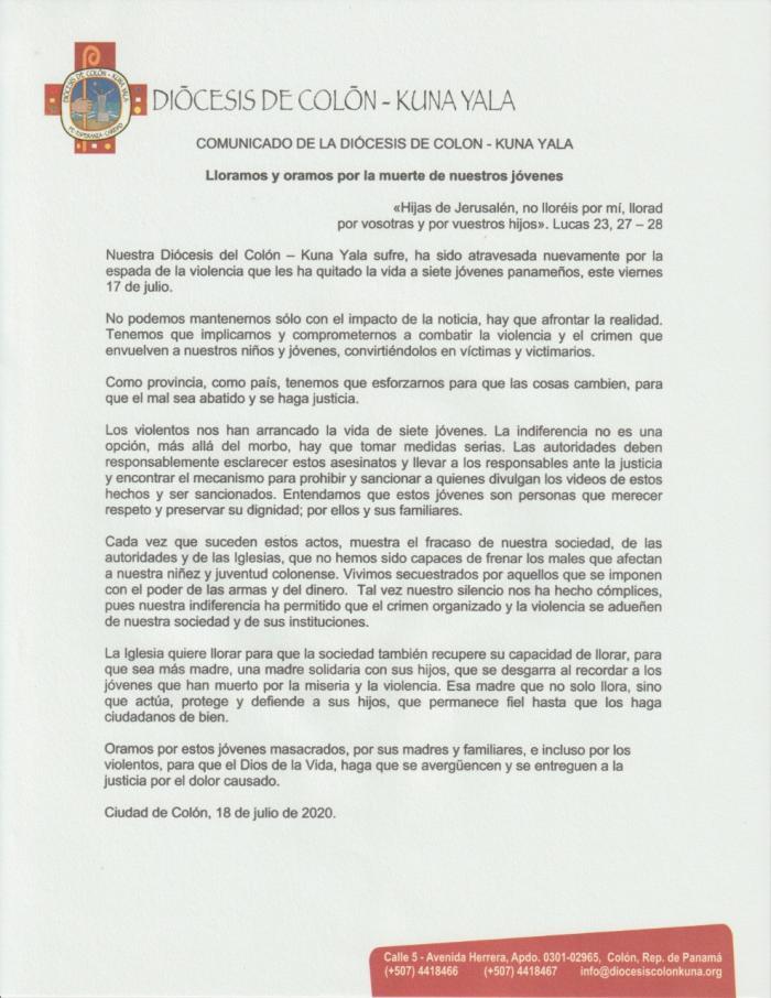 Comunicado de la Diócesis de Colón - Kuna Yala