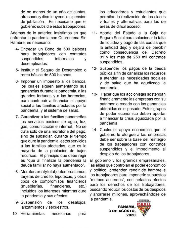 Fragmento del comunicado de Conusi sobre los cambios al Código de Trabajo.