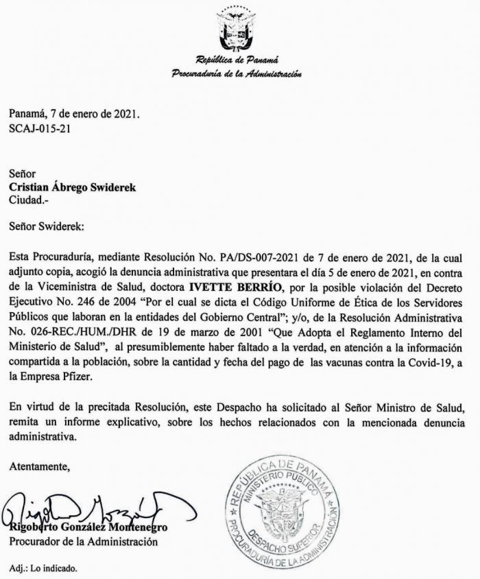 Notificación de la Procuraduría de la Administración