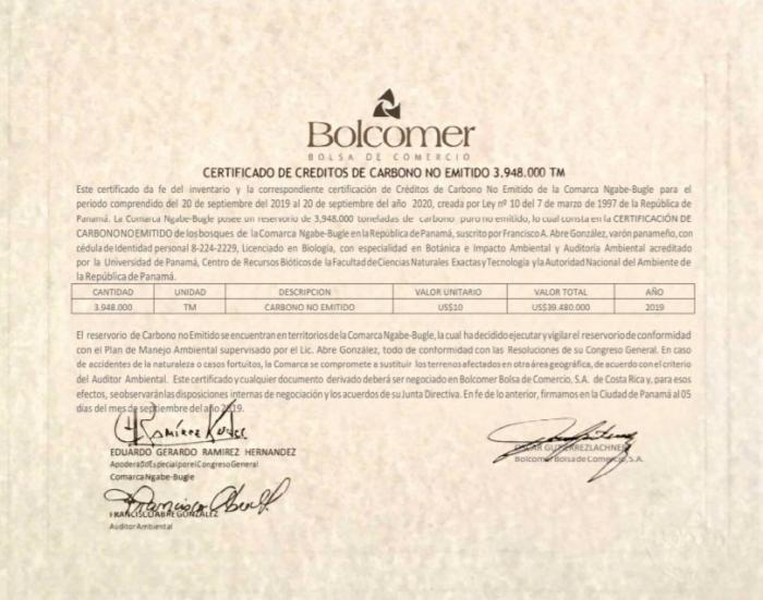 Certificado sin la firma de Sergio González Rivera