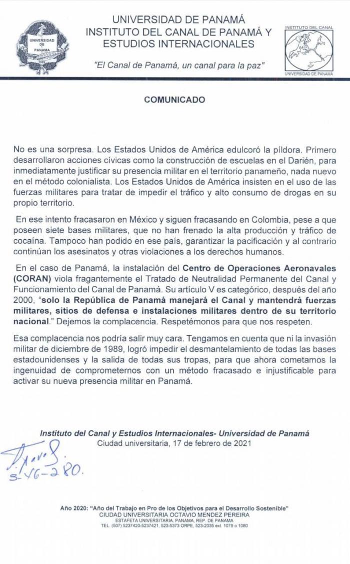 Comunicado del Instituto del Canal de Panamá y Estudios Internacionales de la Universidad de Panamá