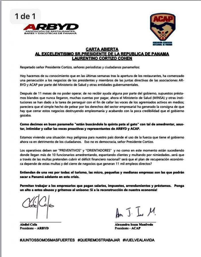Carta abierta al presidente Laurentino Cortizo de asociaciones de bares y cervecerías