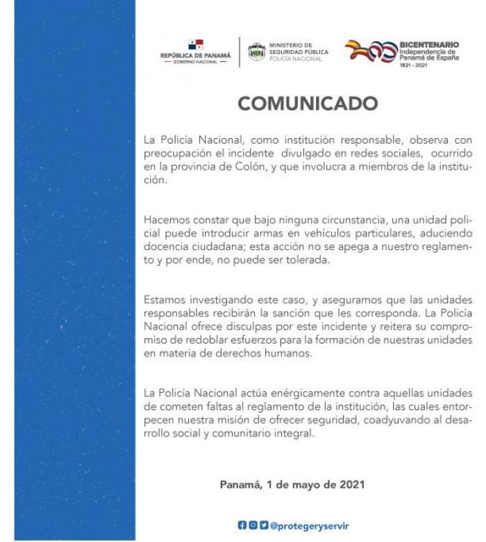 Comunicado de Policía Nacional por racismo