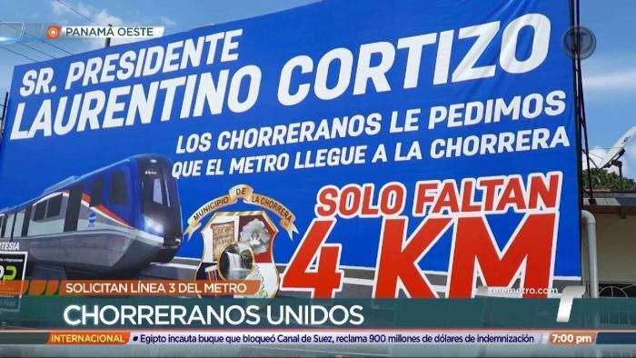 Valla publicitaria con mensaje al presidente Laurentino Cortizo