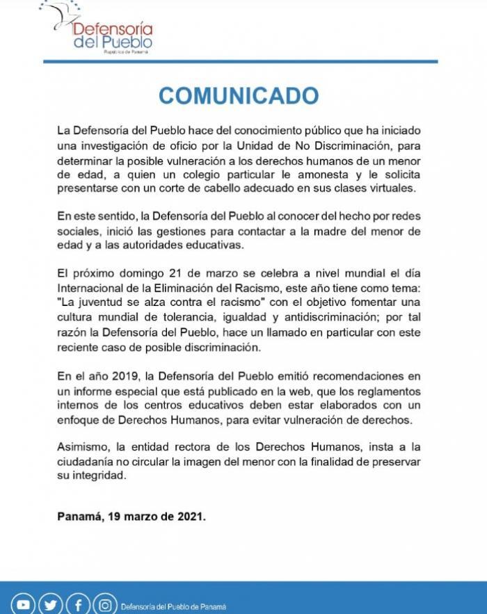 Comunicado de la Defensoría del Pueblo