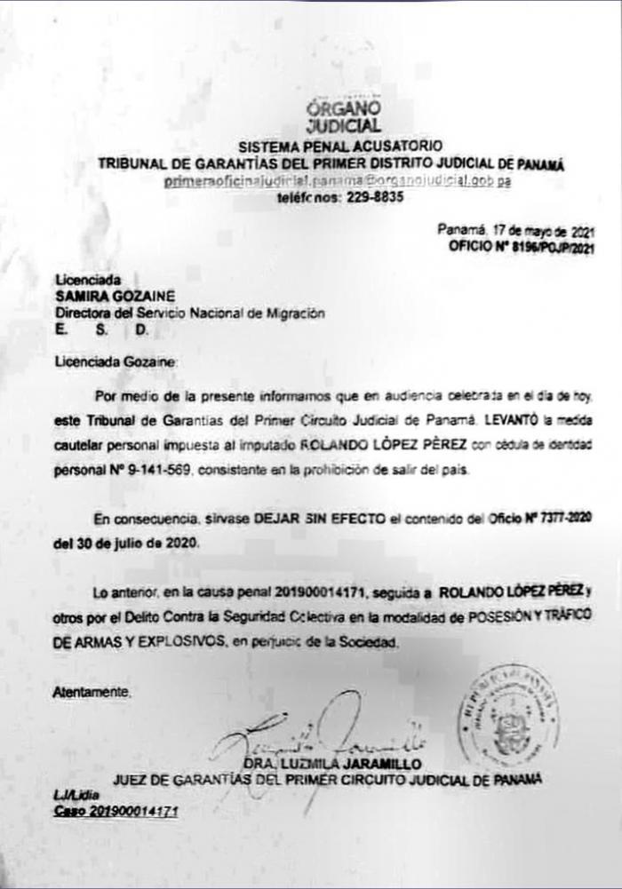 Juez modifica medidas para Rolando López.