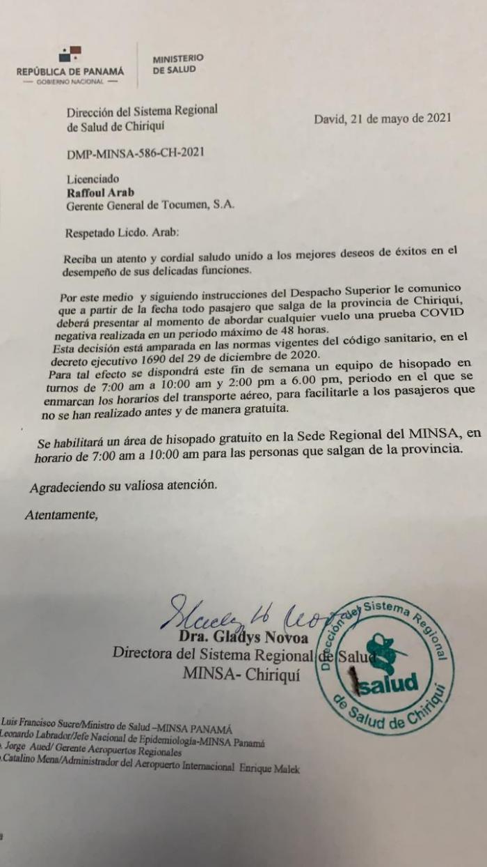 Hisopado en Aeropuerto de Chiriquí
