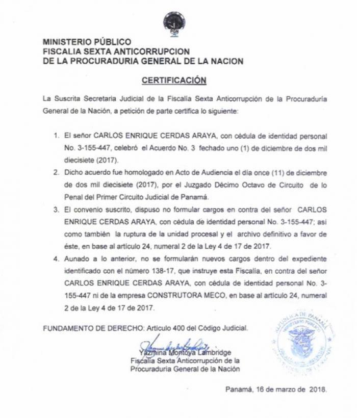 Documento de la Fiscalía sobre convenio con Meco.