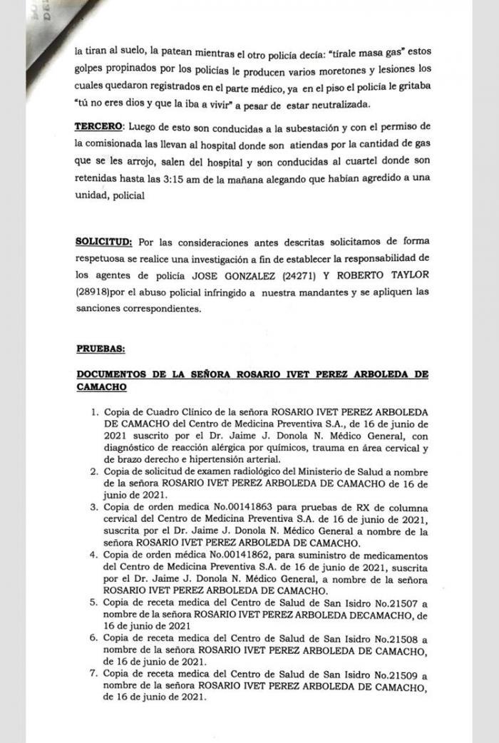Denuncia de Rosario Iveth Pérez y Paola Ibeth Ibarren