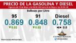 Precio del litro de las gasolinas bajará por primera vez en 2019