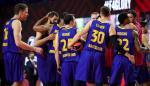 Los jugadores del FC Barcelona celebran su pase a la final de la Euroliga de Baloncesto