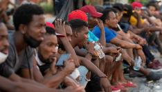 Un grupo de migrantes haitiano