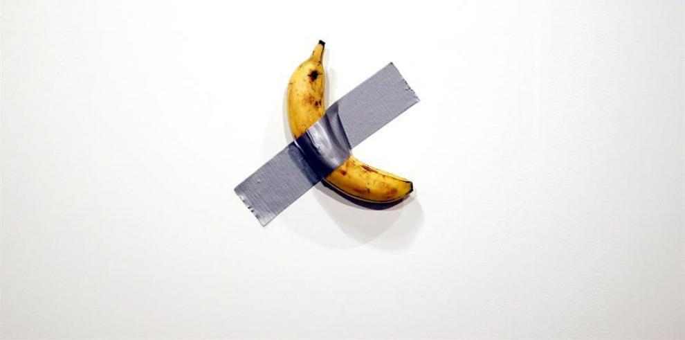 Italian artist Maurizio Cattelan's piece 'Comedian' (a banana duct taped to the wall)