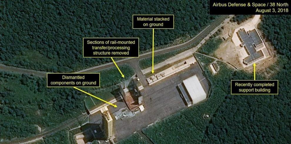 Imagen de un satélite de varias instalaciones clave en Corea del Norte.