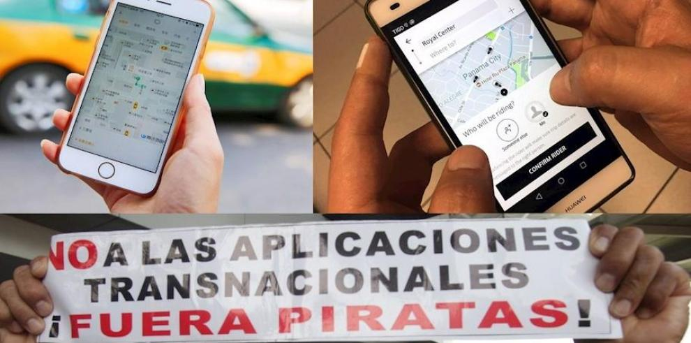 En la parte superior, a dos usuarios de las aplicaciones de transporte Didi (i) y Uber (d); y en la parte inferior, a un hombre que protesta en contra de estas empresas.