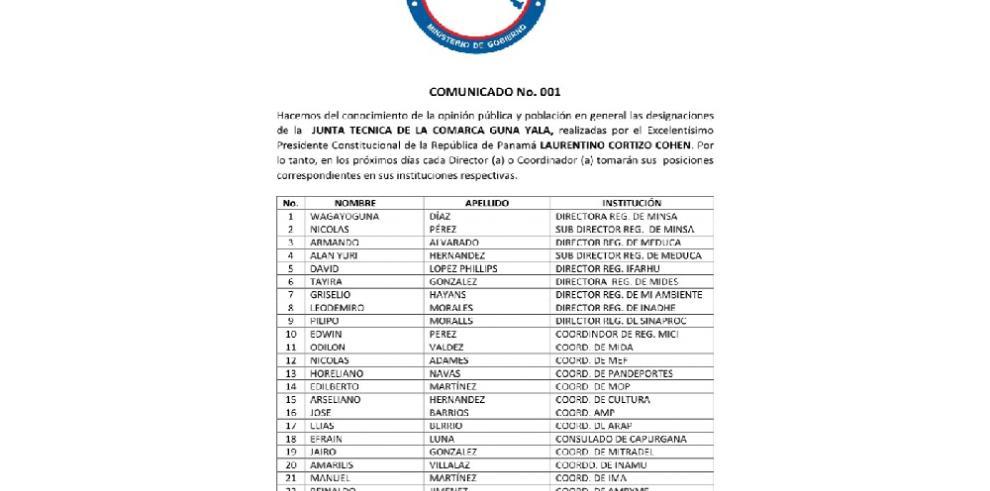 Gobernador de Guna Yala anuncia designaciones de la Junta Técnica