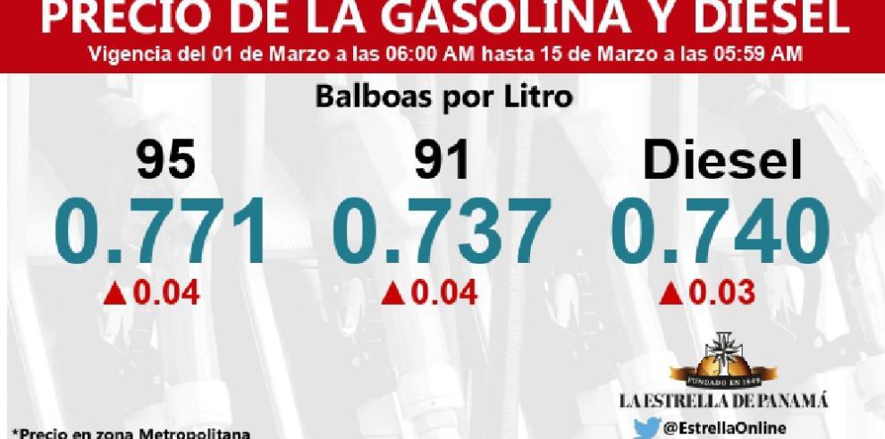Aumento de gasolina y diésel para los días del carnaval