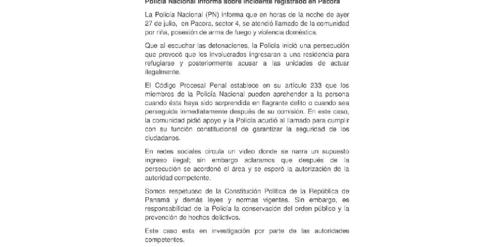 Policía Nacional aclara incidente ocurrido en sector 4 de Pacora