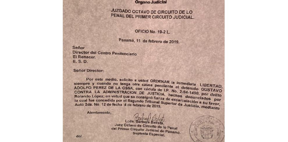 Juzgado ordena la libertad 'inmediata' de Gustavo Pérez