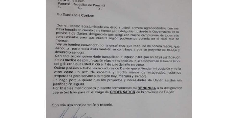 A Cortizo Cohen le renuncia Eduardo Paz gobernador designado de Darién