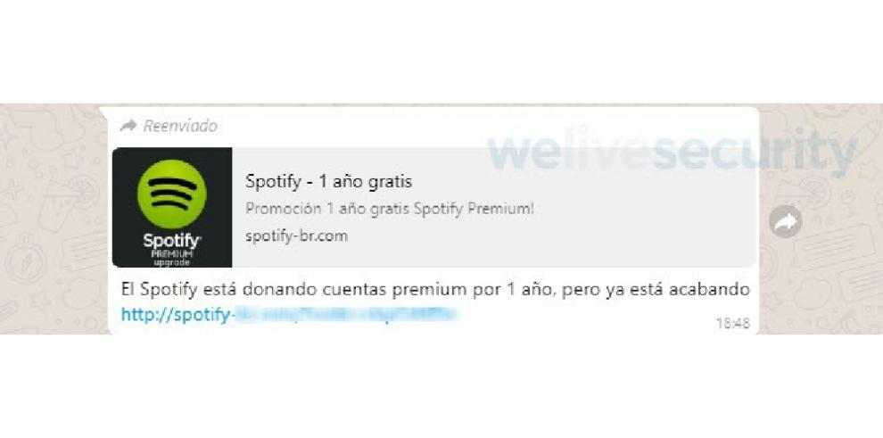 Circula por WhatsApp un engaño que promete un año de Spotify Premium gratis