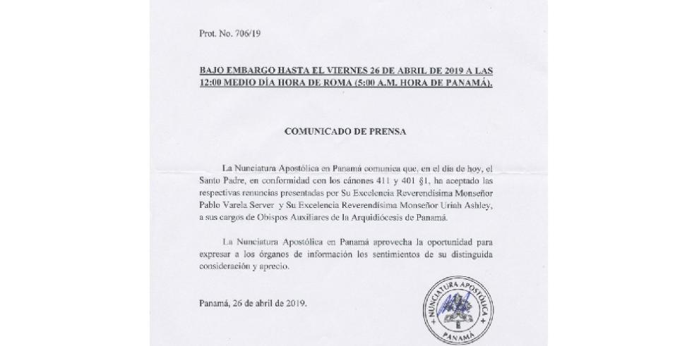 El Papa Francisco acepta renuncia de obispos auxiliares Varela Server y Ashley