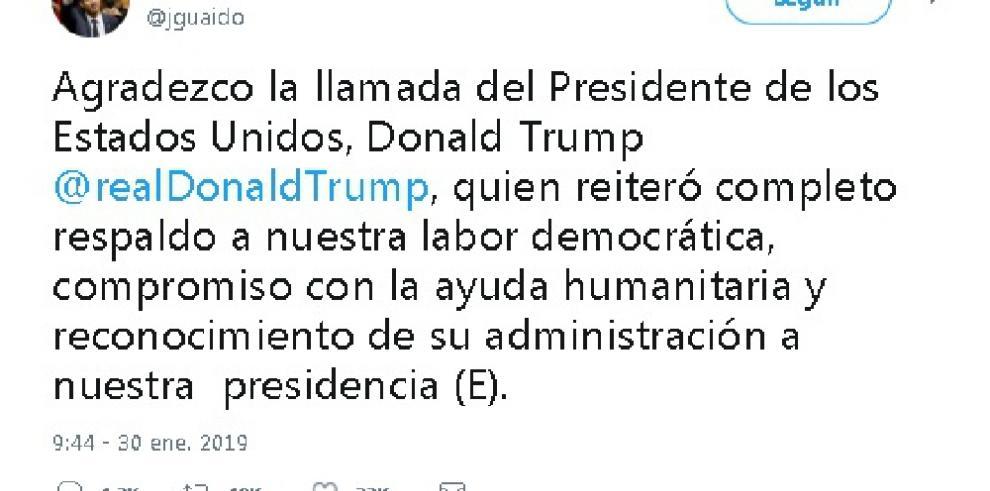 Juan Guaidó recibe una llamada telefónica de Donald Trump