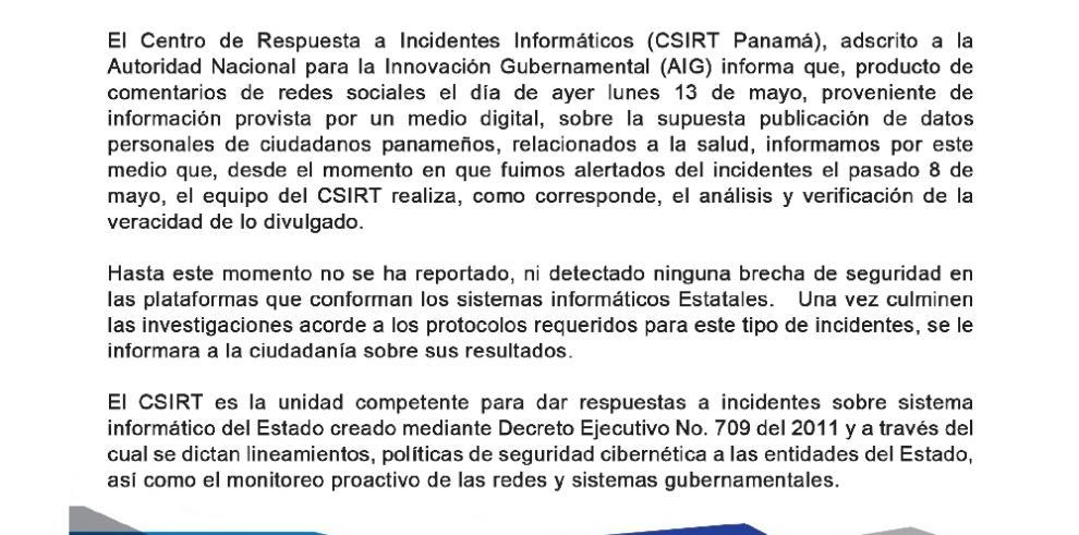 CSIRT Panamá no reporta fugas de datos en sistemas informáticos estatales