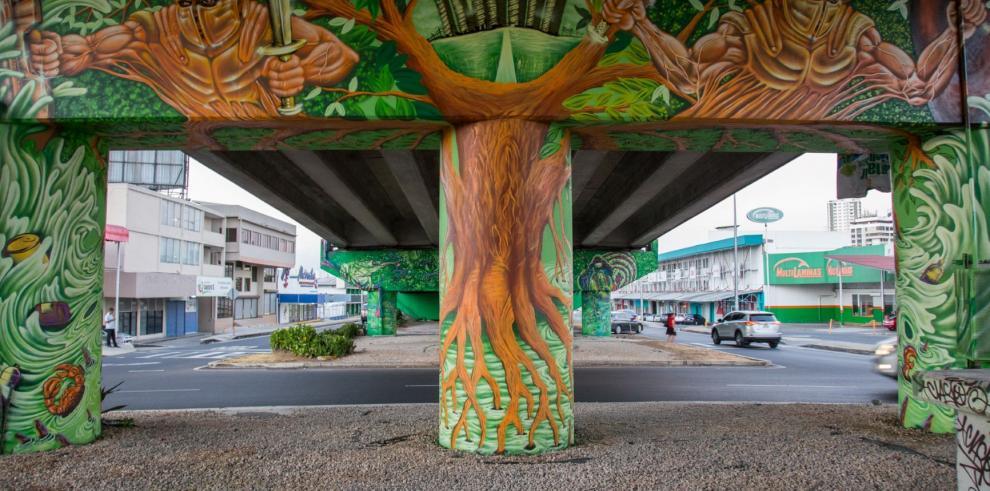 El manglar y la huella humana, obra colectiva de grafiti y muralismo