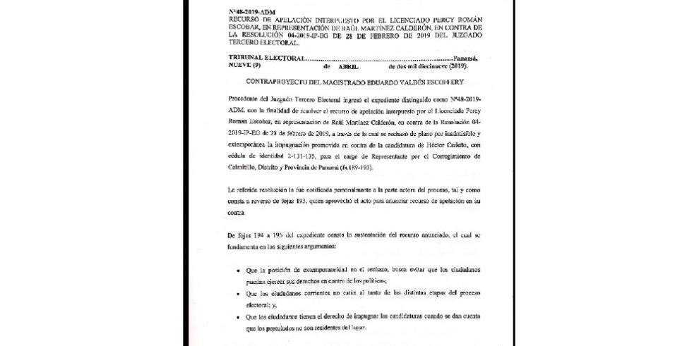 Valdés Escoffery falló a favor de candidato del PRD en tema de residencia