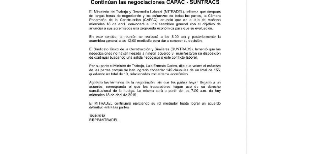 Suntracs reitera el llamado a huelga