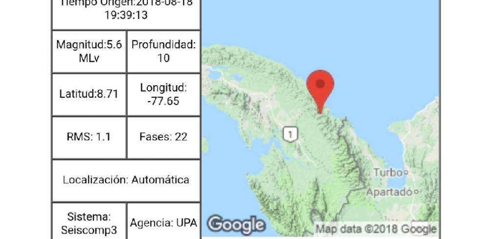 Reportan sismo de 5.6 en la frontera con Colombia cerca de Guna Yala