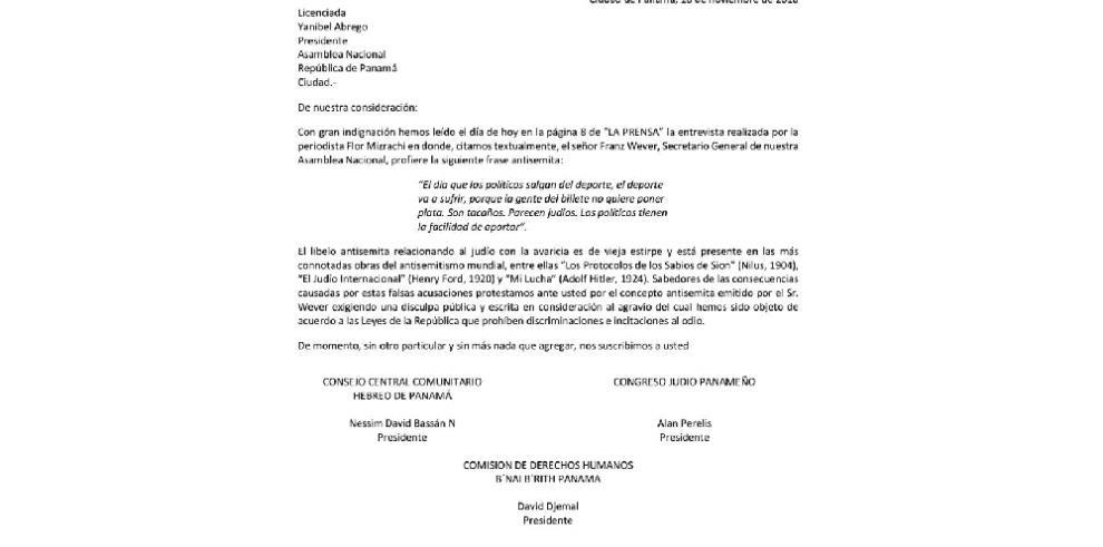 Comunidad Judía de Panamá 'indignada' ante declaraciones de Franz Wever
