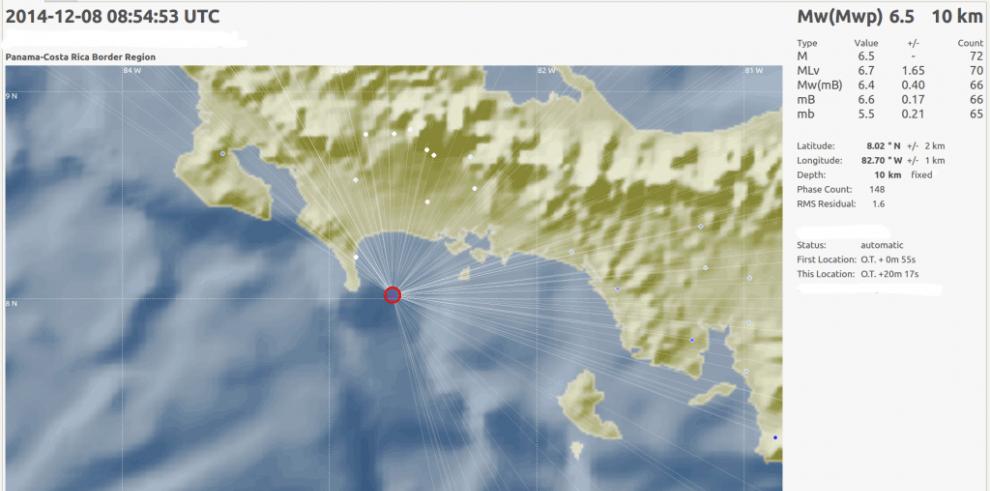 Tres sismos de entre 3,1 y 4,4 en escala Richter se registraron en Panamá
