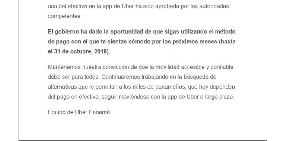 Uber podrá cobrar por seis meses más el viaje en efectivo