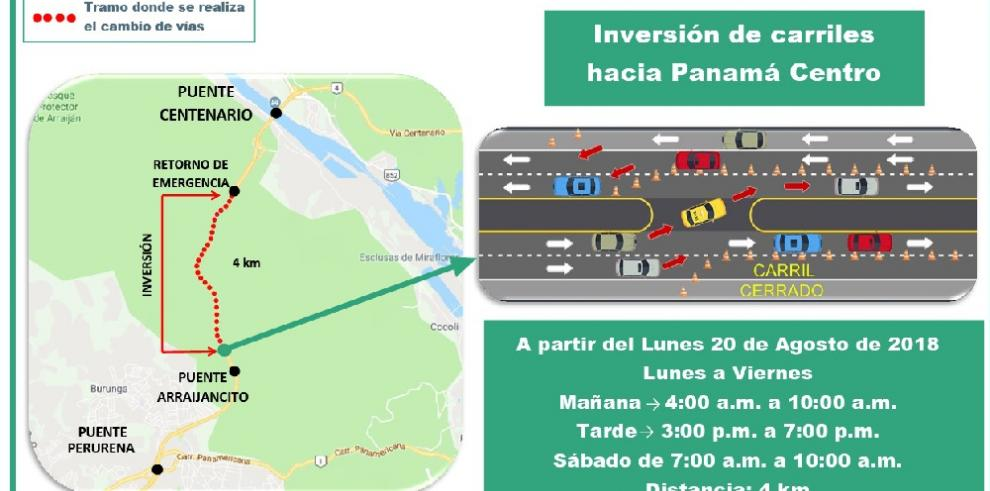 Inversión de carriles en la Vía Centenario será hasta el 14 de septiembre