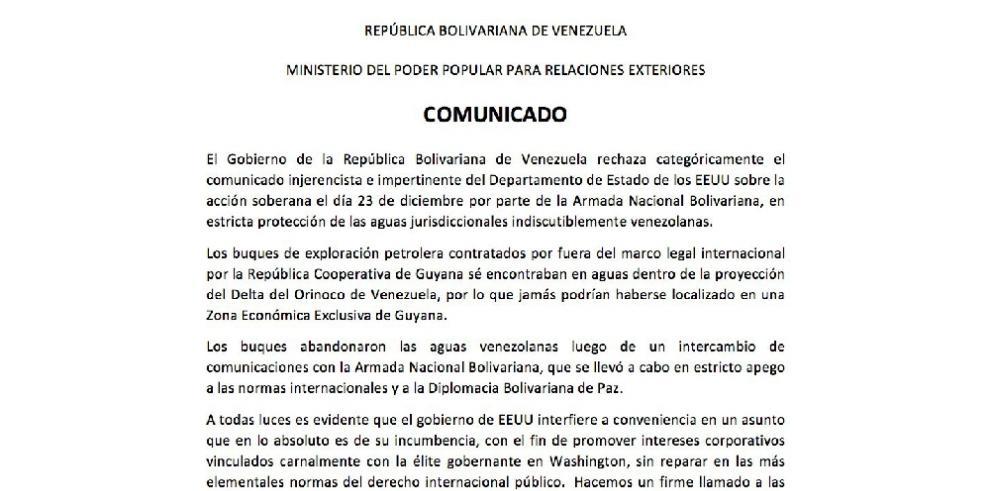 Venezuela pide a Estados Unidos no interferir en asuntos con Guyana