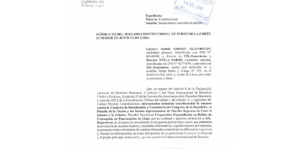 Periodistas destaparon escándalo de corrupción en Perú demandan a Fiscalía