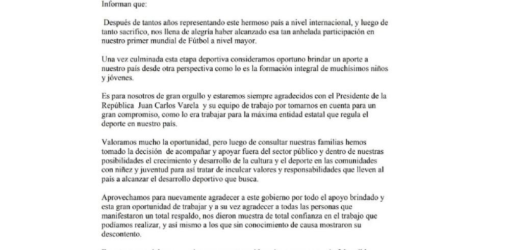 Blas Pérez y Felipe Baloy rechazan puesto ofrecido por Varela