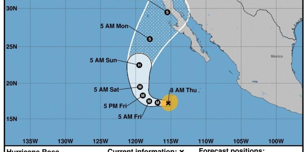 El huracán Rosa, de categoría 1, se acerca a la Península de Baja California