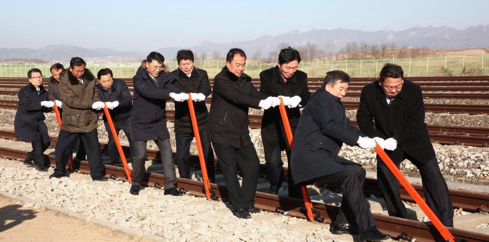 Las dos Cores celebran con una ceremonia simbólica su reconexión ferroviaria