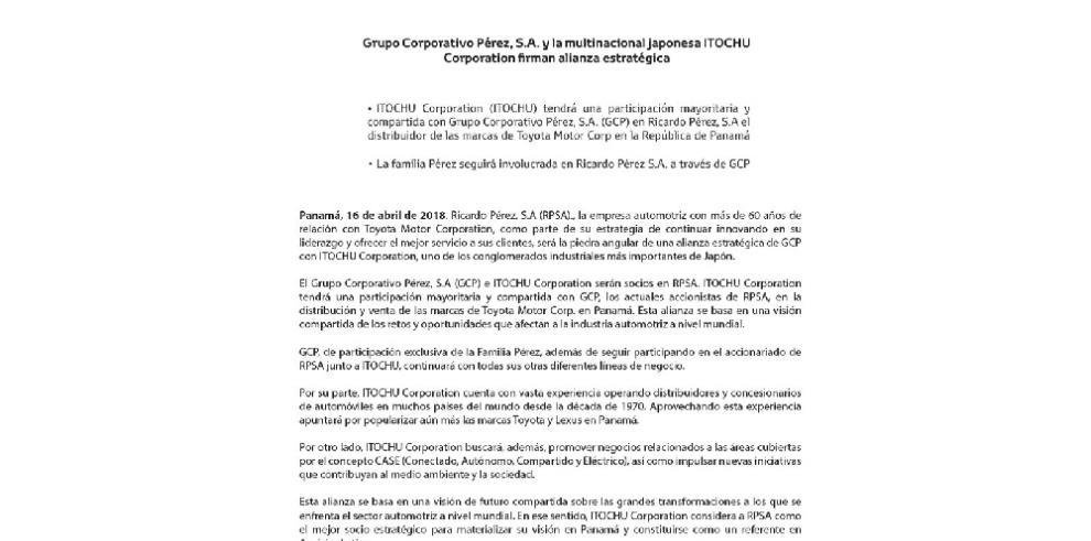 Multinacional japonesa en alianza con GCP busca 'materializar visión' en Panamá