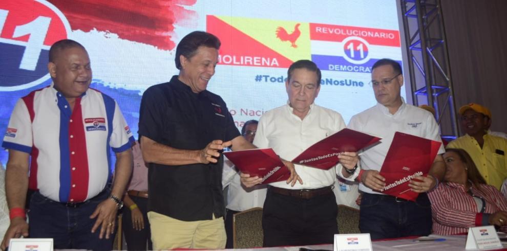 PRD ratifica acuerdo total con Molirena y parcial con CD y el partido Alianza