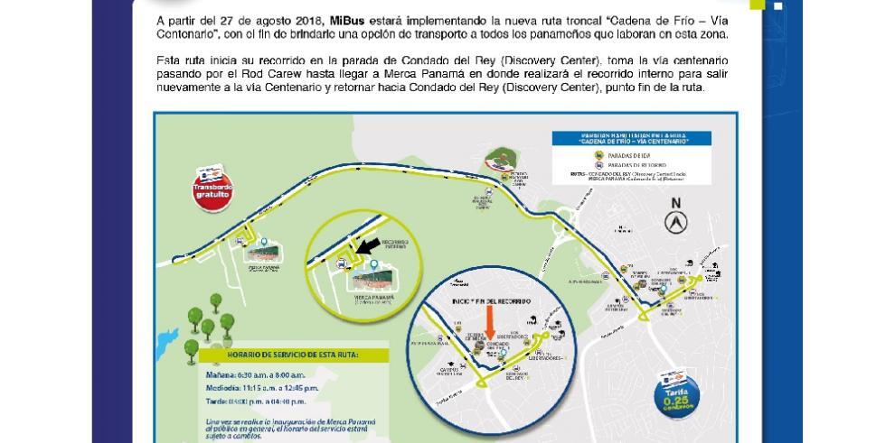 MiBus anuncia nueva ruta Cadena de Frío – Vía Centenario