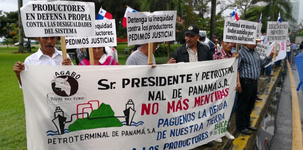 Productores marcharon hacia la Presidencia